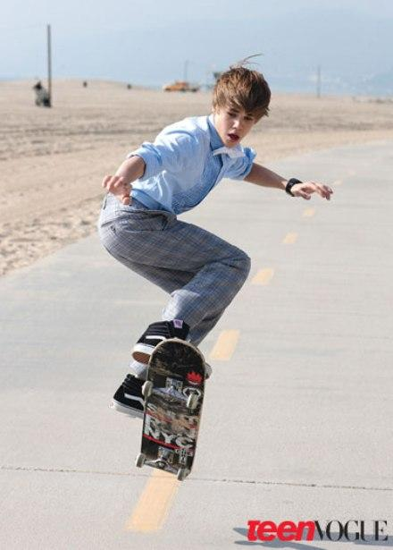 Justin Bieber Skateboarding For Teen Vogue. April 12, 2010, 1:03 pm